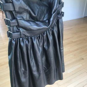 Zara Dresses - Strapless Black Pleather Zara Cocktail Dress (SM)